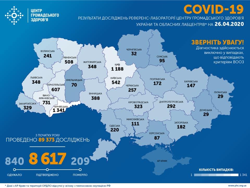 карта коронавірус 26 квітня