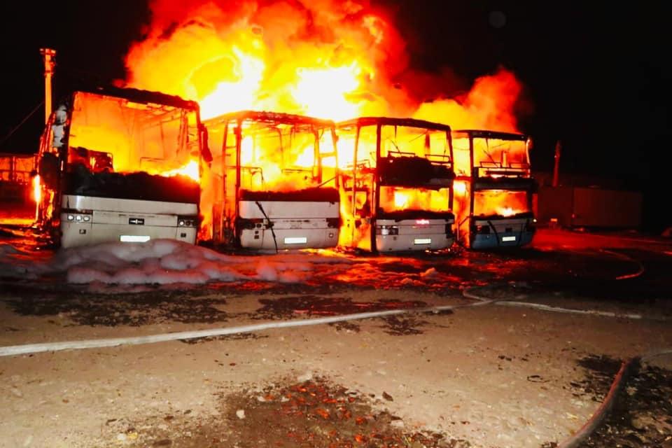 Княжолука, підпал автобусів